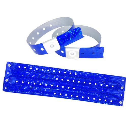 Lote de 100 pulseras de plástico – Vinilo para eventos festivales – Impermeables (azul holográfico)