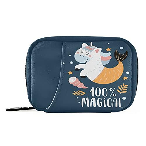 Naanle Caja de píldoras mágica de unicornio de 7 días, bolsa organizadora de píldoras de viaje, con cremallera, portátil, tamaño compacto para soporte de suplemento de vitamina