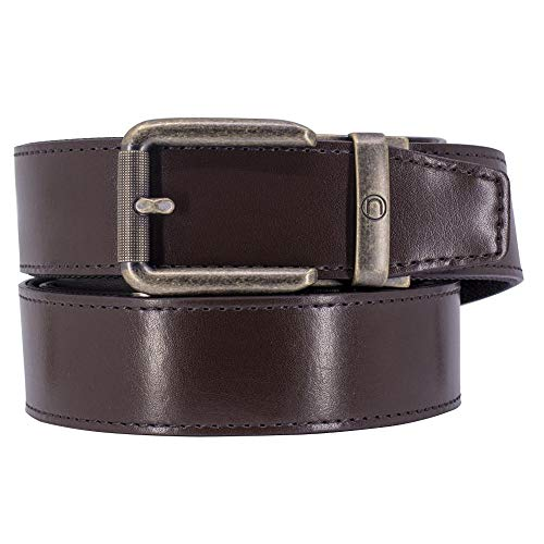 Nexbelt - Belt with No Holes - Rogue Espresso CCW Brown Leather EDC Gun Belt for Men with Ratchet Buckle