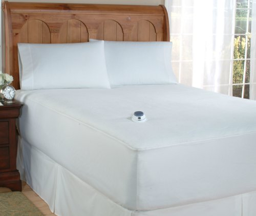 Overstock Safe and Warm Microplush Heated Mattress Pad, White