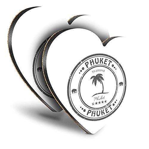 Destination Vinyl ltd Great Posavasos (juego de 2) corazón BW – Phuket Tailandia sello de viaje tailandés bebida brillante posavasos   protección de mesa para cualquier tipo de mesa #39968