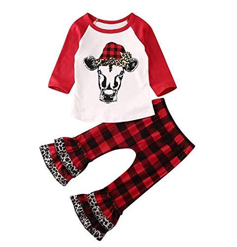 JiaMeng 0-5 Jahre Weihnachten Lange Ärmel Karikatur Tier Drucken T-Shirt Tops und Rüschen Rot Gitter Drucken Lange Hosen Weihnachten Outfits