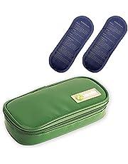 GYAM Bolsa Fría de Insulina, Estuche Portátil de Viaje Médico con 2 Bolsas de Hielo y Termómetro, hasta 12 Horas de Conservación en Frío, para Insulina y Otros Medicamentos,Verde