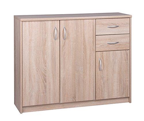 Kommode - Sideboard mit 3 Türen und 2 Schubladen (B/H/T: ca.: 109 x 85 x 35 cm) Topplatte 22 mm gesoftet, (Melaminharzbeschichtet - kratzfest & wasserabweisend) Sonoma Eiche