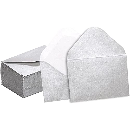 Mini Envelopes - 100-Count Bulk Gift Card Envelopes, Silver Business Card Envelopes, Bulk Tiny Envelope Pockets for Small Note Cards, 4 x 2.7 Inches