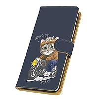らくらくスマートフォン3 F-06F 用 スマホケース 手帳型 カードタイプ [バイク猫・ねいびー] きゃっと ライダー キャラクター FUJITSU 富士通 アンドロイド docomo けーたいカバー カード収納 スタンド式 スマホカバー [FFANY] roar 00z_219@02c
