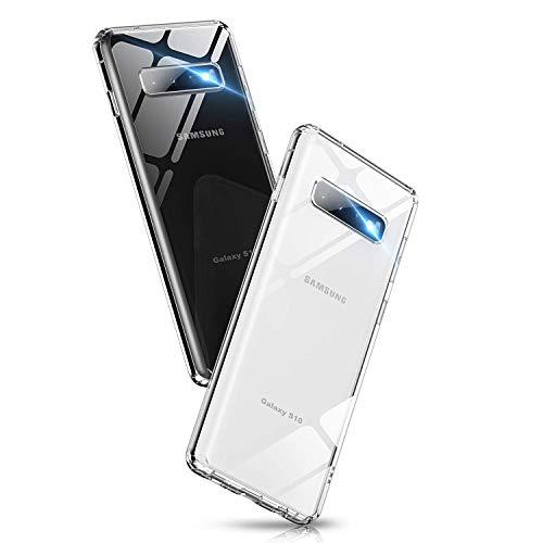 Aunote Glashülle kompatibel mit Samsung Galaxy S10 Hülle, Dünn 9H Hartglas Handyhülle, Dualer Rückseite Cover Case, Kratzfeste Schutzhülle mit Weich TPU Bumper, Komplettschutz für Galaxy S10. Klar