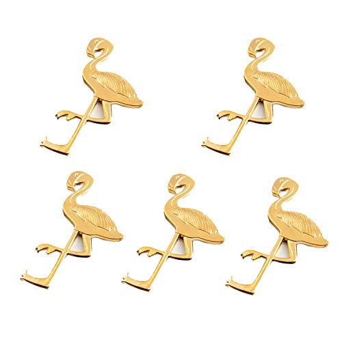 Pioneer Clan - Apribottiglie con fenicotteri dorati, per matrimoni, feste, regalo per ospiti (Birdie-5 confezioni)