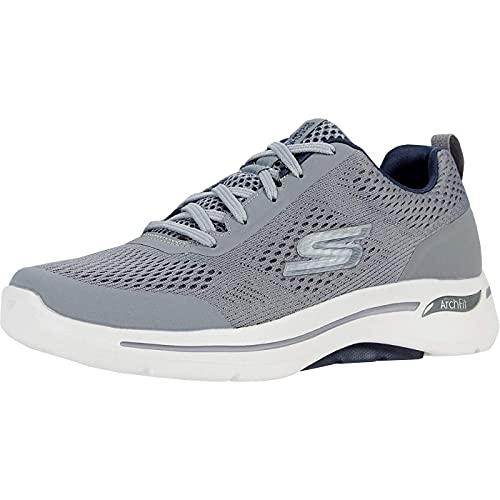 Skechers Men's Gowalk Arch Fit-Athletic Workout Walking Shoe with Air Cooled Foam Sneaker, Grey/Navy, 11.5
