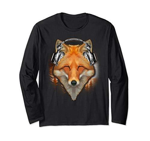 Fox With Headphones Listening To Music Long Sleeve T-Shirt