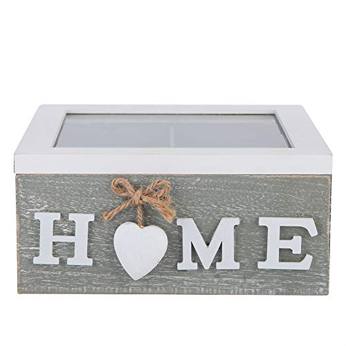 HERCHR Caja de Madera para Mujer, Pequeño joyero de Madera, Decorative Trinket Jewelry Box con Tapa Transparente para Caja de Baratijas, Joyas y Recuerdos, 18 x18 x 8.5cm