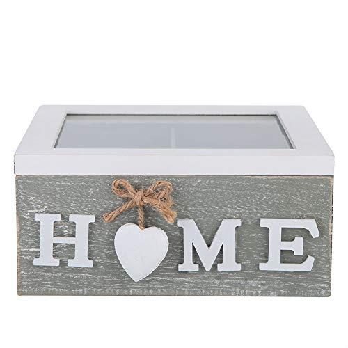 HERCHR Pequeño joyero de Madera, Caja de Almacenamiento Decorativa rústica con Tapa Transparente para tocador de Oficina en el hogar, 7.1 x 7.1 x 3.4in
