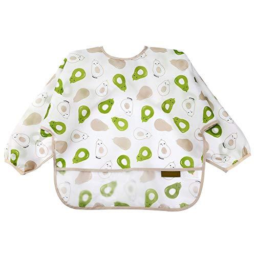 Babero suave con mangas largas para bebés de 6 a 24 meses, Aguacate, M(0.5-2 Years old)