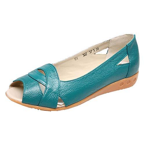 Sandalias De Cuero Zapatos De Tacón Bajo De Mediana Edad Y Viejos Zapatos De Mujer Sandalias Casuales Mujeres 2020 Nuevas Sandalias De Tacón De Cuña Mujeres