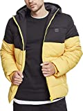 Urban Classics Hooded 2-Tone Puffer Jacket Cappotto, Uomo, Giallo (chromeyellow/blk 01437), Large