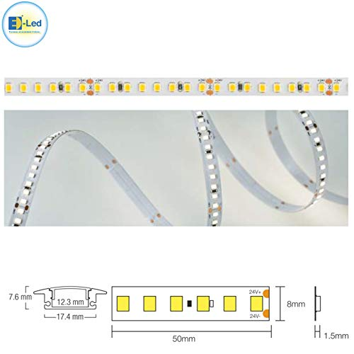 E-lED plafonnier avec Strip LED 24 volts et profil aluminium 10 Watt – 20 W haute efficacité lumineuse 2MT INCASSO 3000k