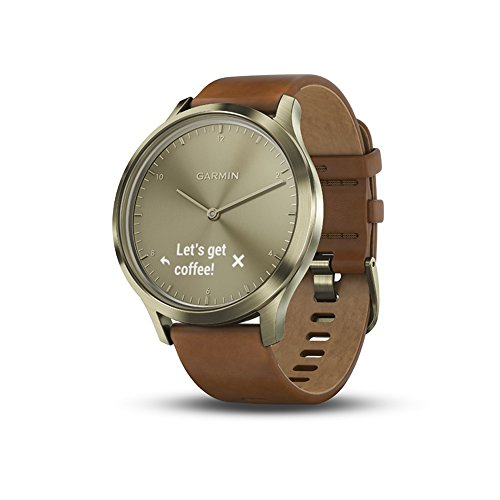 Garmin vívomove HR, Hybrid Smartwatch for Men and Women, Gold with Leather Band