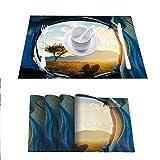FloraGrantnan - Juego de 8 manteles individuales decorativos con impresión 3D, diseño de puesta de sol en mi tienda de campaña, manteles de cocina fáciles de limpiar