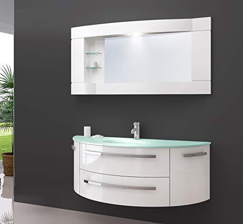 Oimex Cote Azur 120 cm Badmöbel mit LED Spiegelschrank Hochglanz Weiß Badezimmer Set mit viel Stauraum Waschtisch Unterschrank Glas Waschbecken