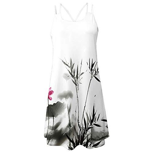 MOMOEW Summer Dress Dress Women Beach Elegant Casual Short-Sleeved Beach Dress Floral A-Line Dress Boho Style Loose Knee Long Dress