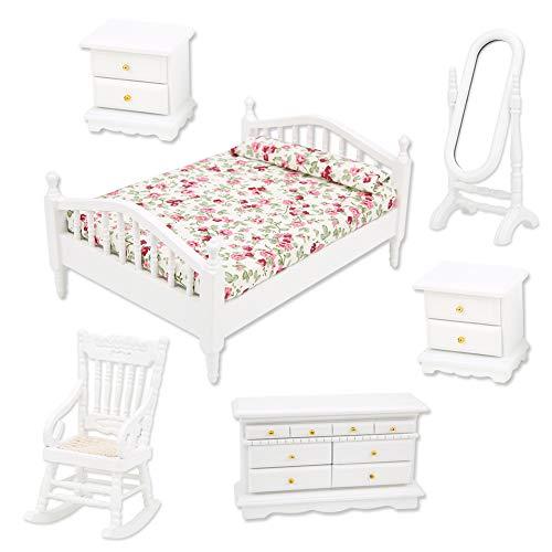 Haokaini Puppenhaus Schlafzimmermöbel Set 6 STK. 1:12 Doppelbett Langer Spiegel Nachttisch Stuhl Schrank Puppenhaus Zubehör Lebensszenen Dekor Kinder Geschenk