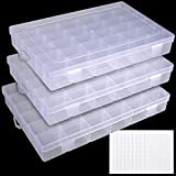 UOONY 3pack Plastic Organizer Box 36 Grids Craft Storage with Adjustable Dividers, Bead Organizer Fishing Tackles Box Crafts Thread Organizer with 400pcs Label Stickers