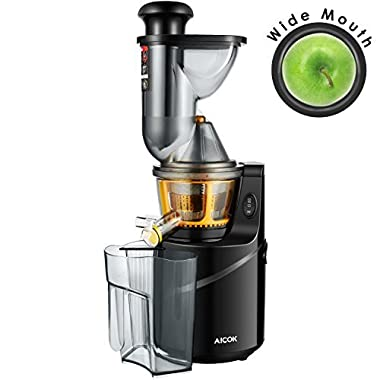 Juicer Machine Masticating Slow Juicer Extractor,  Aicok 3  Wide Mouth Whole Masticating Juicer with Juice Jug and Brush, Quiet Motor and High Nutrient for Fruit and Vegetable Juice