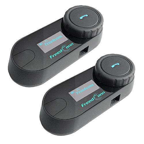 FreedConn TCOM-SC Motorrad Gegensprechanlage Headsets Motorradhelm Intercom Wasserdicht Wireless Interphone für Motorradfahren Skifahren 2-3 Fahrer LCD-Bildschirm Full Duplex-Freisprecheinrichtung