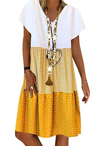 Damen Sommerkleid Baumwolle Leinen Elegant Kurzarm A-Linie Patchwork Freizeitkleid MiniKleid Kurzgelb M