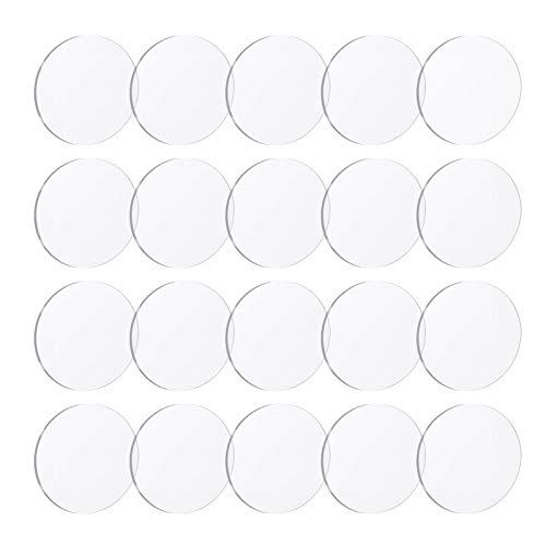 Gukasxi 20 Stück klare Acrylplatten 0,2 cm dicke runde Acrylplatten transparente Kunststoff-Kreise Platte für DIY-Projekte Bilderrahmen Malerei Schilder mit Schutzfolie (2/3/4 Zoll) (5,1 cm)
