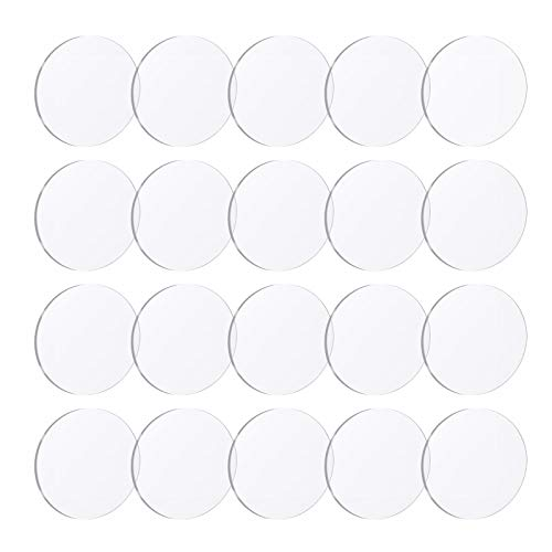 Gukasxi 20 Pcs Clear Acrylic Sheet 0.08 Inch Thick Round Acrylic Sheets Transparent Plastic Circle Panel for DIY Projects Picture Frame Painting Signs with Protective Film (2/3 /4 inch) (2 inch)