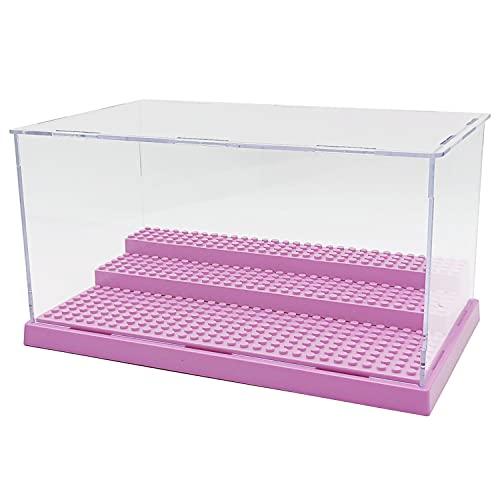 Minifigures Display Case for Action Figures Building Blocks Dustproof Storage Children's Day Gift (Purple)