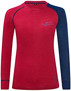 Black Crevice Damen Langarmshirt aus Merino Wolle Ropa Interior Funcional, Mujer, Rojo y Azul, 46