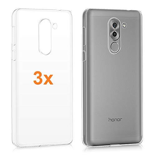REY Pack 3X Cover in Gel TPU Trasparente per Huawei Honor 6X (2016) / Huawei GR5 (2017), Ultra Sottile 0,33 mm, Morbido Flessibile, Custodia Silicone