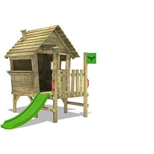 FATMOOSE Casa de juegos de madera VanillaVila Joy XXL con tobogán, Parque infantil para el jardín, Casita de exterior para niños
