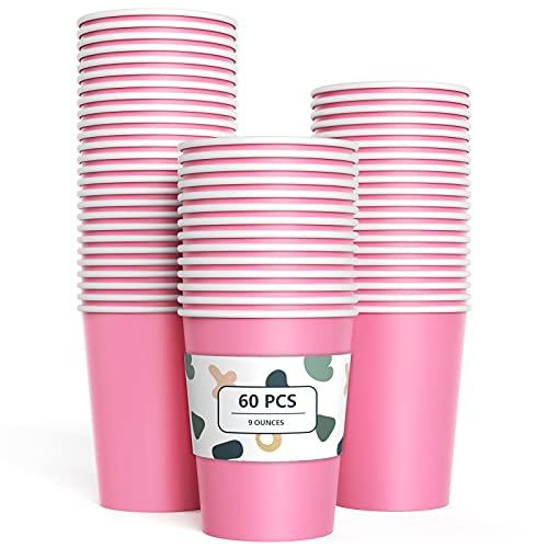 60 Piezas Vasos de Papel Rosa Tazas de Fiesta Desechables Vasos Carton de Biodegradables y Compostables para Fiestas, Suministros de Cumpleaños, Bricolaje,Café - 250ml