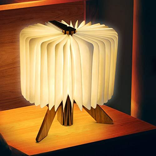 Lámpara Libro LED Luces Plegables de Madera, Booklight Decorativa Lámpara de Mesa, USB Recargable, Luz Cálida para Decoración de Habitación de Oficina en Casa Regalos de Cumpleaños del Festival