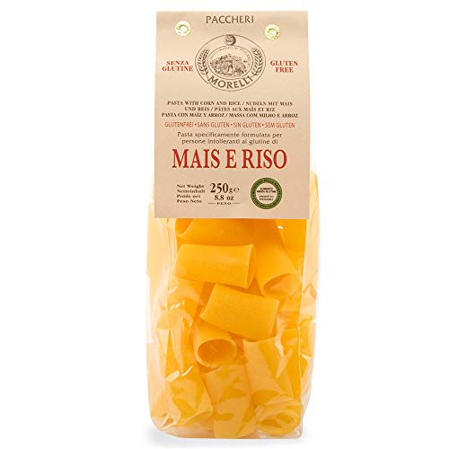 Morelli Italian Gluten Free Paccheri Pasta made from Corn & Rice - Pasta Di Mais E Riso - 8.8 oz