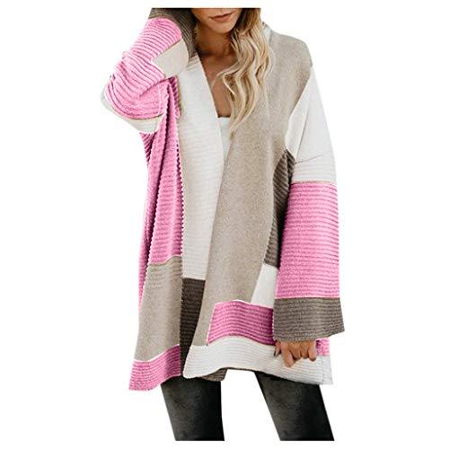 Snowbuff-cappotto Maglione Cardigan A Maniche Lunghe Abbinato Colore Tasca Donna Moda Inverno Caldo Casual Sciolto Maglione Maglia Pullover Giacca Cardigan Elegante Giacca A Vento