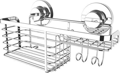Cornat Duschkorb 3 in 1 - Kombi aus hohem & niedrigen Korb - Zur Wandmontage - 3 verschiedene Befestigungsoptionen mit Saugnapf, Klebepad & Bohren - Verchromt / Duschregal / Duschablage / T340273