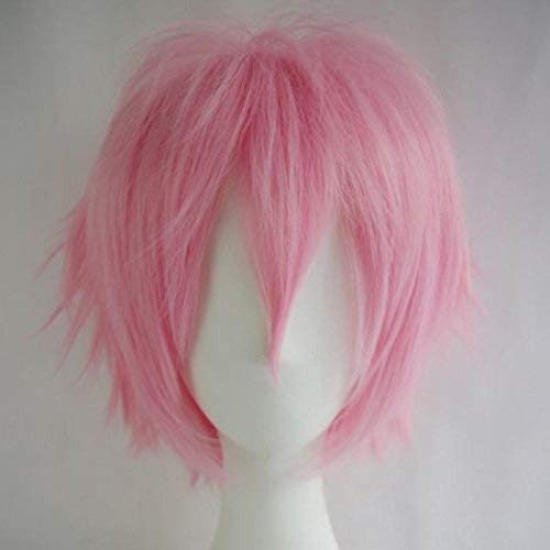 Unisex Short Straight Cosplay Hair Wig Women Mens Male Fashion Anime Party Fancy Style Costume Synthetic Full Wigs White