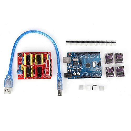 ASHATA CNC Shield V3 Graviermaschine Expansion Board Kit Stepstick, CNC Abschirmplatte, DRV8825 Schrittmotortreiber, mit USB-Kabel
