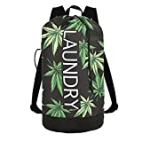 Marijuana Laundry Bag Backpack Dirty Clothes Organizer With Strap and Handles Washable for College,Travel,Camp,Dorm Essentials