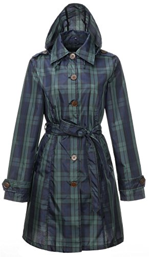 QZUnique Women's Lightweight Long Raincoat With Belt Waterproof Packable Ponchos Jackets with Hood Green lattice