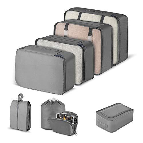 CISHANJIA Organizer Valigie Set di 8 Cubo di Viaggio Cubi di Imballaggio con Contenitore per Cosmetici, Sacca Portabiancheria & Sacchetto per Scarpe (Grigio, 8 PCS)