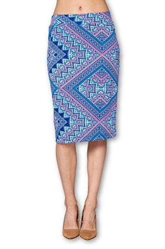Women's High Waist Knit Stretch Multi Print Office Pencil Skirt (S-3XL) -Made in USA (Blue, X-Large)