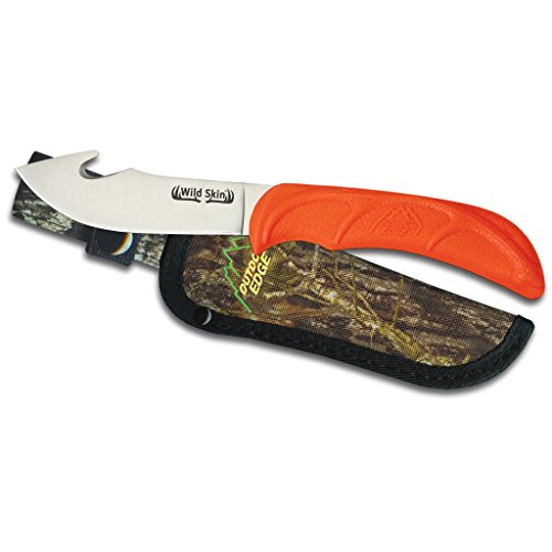 "Outdoor Edge WildSkin - 4.0"" Fixed Blade Gut-Hook Skinning Knife for Big Game Hunting with Mossy Oak Camo Nylon Belt Sheath"