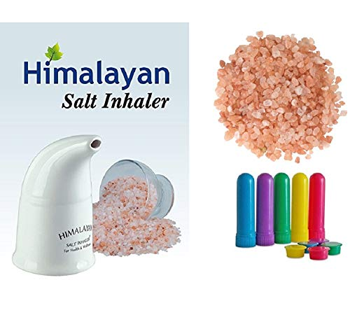 Himalayan Pink Salt Inhaler with 150g of Salt Plus 5 Salt Filled Travel Inhalers, All-Natural Respiratory Aid from Select Health & Wellness