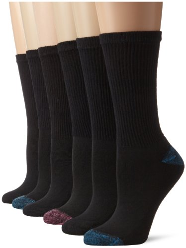 Hanes Women's Comfort Blend Crew Sock, Black Assorted,  Shoe size 5-9/Sock Size 9-11 (Pack of 6)