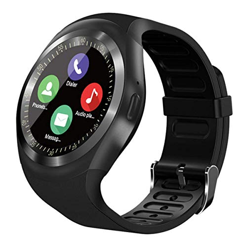 SEPVER Smartwatch Reloj Inteligente Redondo, rastreador de Ejercicios, podómetro con Ranura para Tarjeta SIM, notificaciones de Llamadas, para Android iOS Samsung Huawei para Mujeres Hombres(Negro)